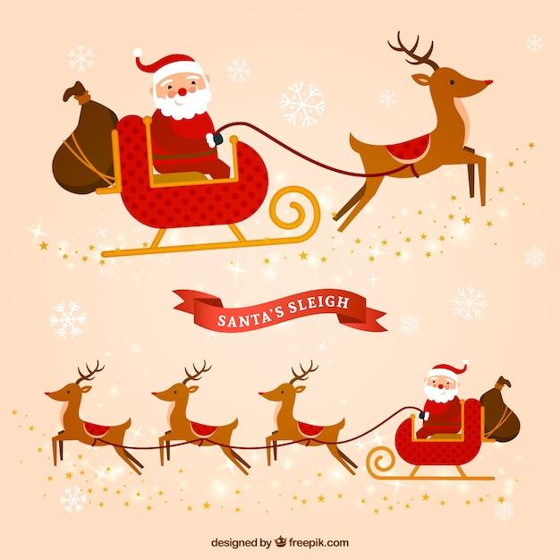 Weihnachtsmann schlitten flat pack Kostenlosen Vektoren
