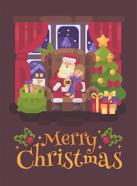 Weihnachtsmann sitzt auf einem stuhl mit einem kind in seinem schoß. weihnachtsgrußkarte flach illus Premium Vektoren