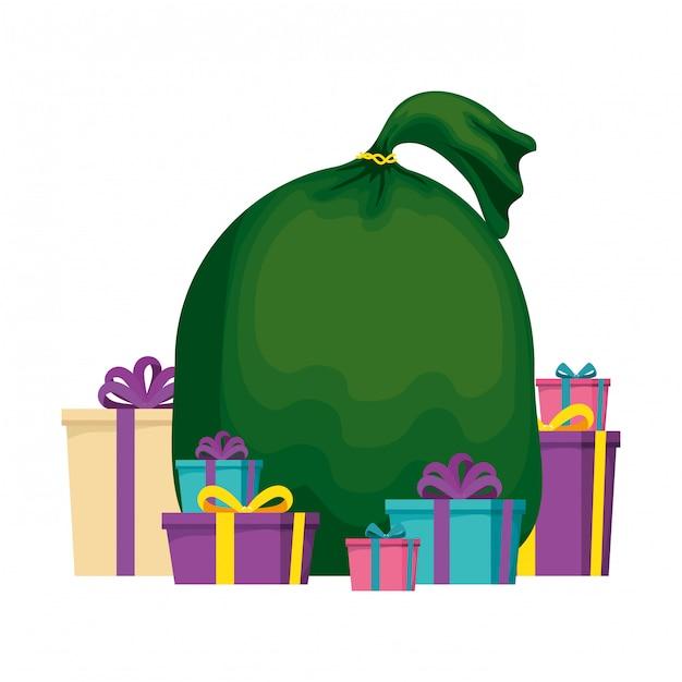 Weihnachtsmann tasche symbol Premium Vektoren