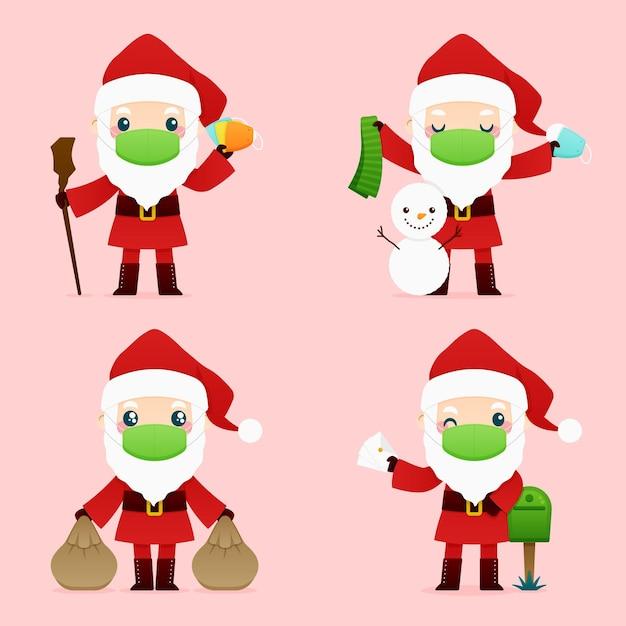 Weihnachtsmann trägt gesichtsmaskenpackung Kostenlosen Vektoren