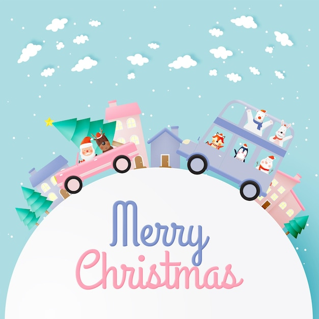 Weihnachtsmann und bande der tierparty mit sehr niedlichem charakterentwurf in papierkunst und in pastellschema Premium Vektoren