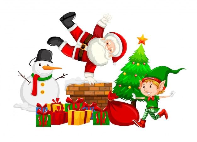 Weihnachtsmann und elf am schornstein Kostenlosen Vektoren