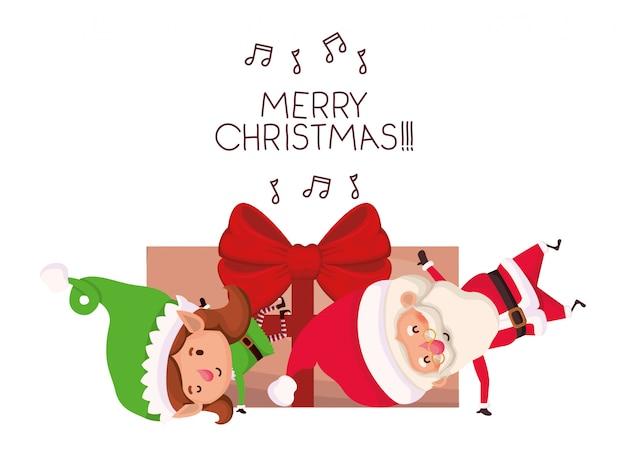 Weihnachtsmann und elf frau mit geschenkbox Premium Vektoren