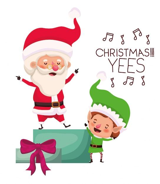 Weihnachtsmann und elf mit geschenkbox Premium Vektoren