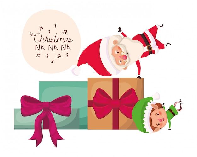 Weihnachtsmann und elf mit geschenkboxen Premium Vektoren