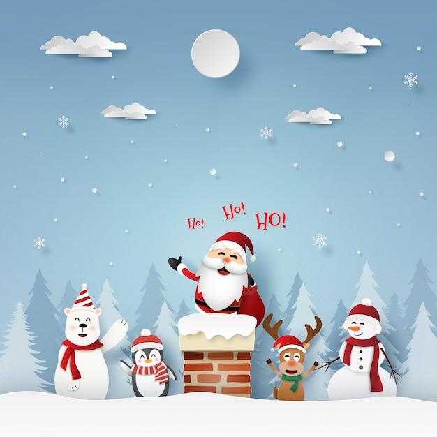 Weihnachtsmann und freunde auf dem dach mit kamin Premium Vektoren