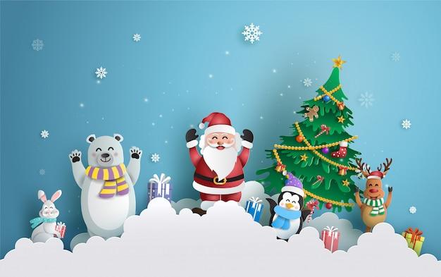 Weihnachtsmann und freunde mit weihnachtsbaum. Premium Vektoren