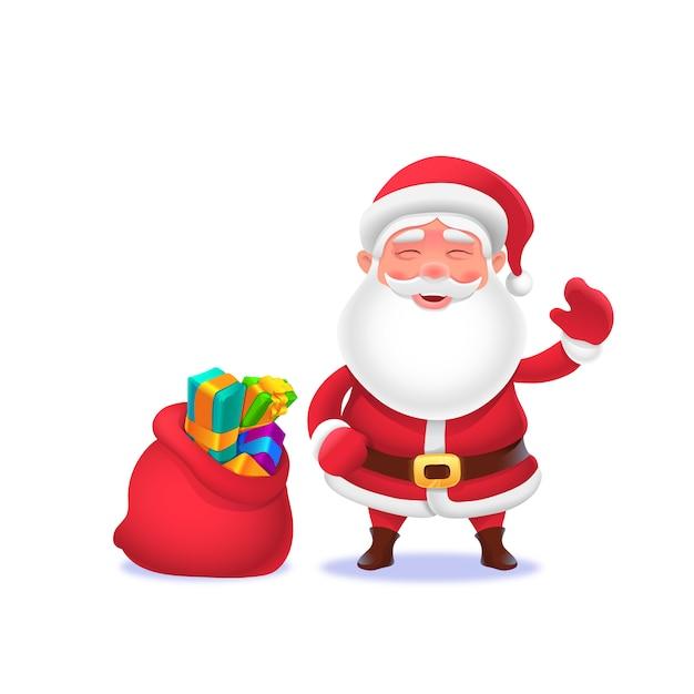 Weihnachtsmann und geschenktüte Premium Vektoren