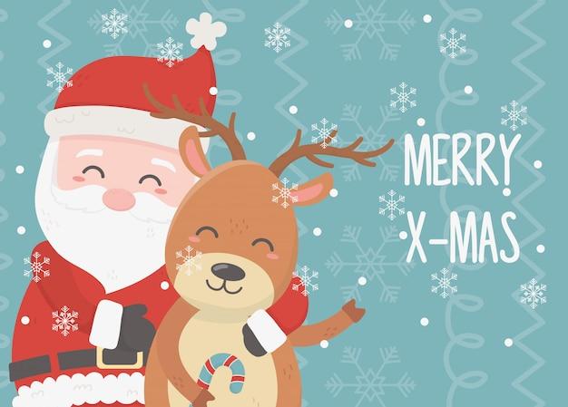 Weihnachtsmann und rentier feier frohe weihnachten karte Premium Vektoren