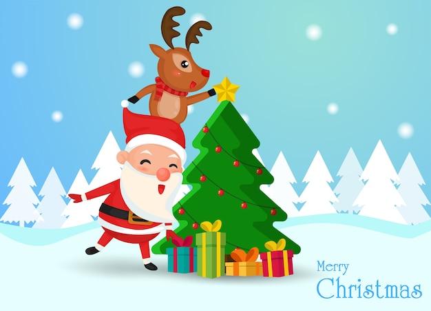 Weihnachtsmann und rentier hilf mit den sternen den weihnachtsbaum zu schmücken Premium Vektoren