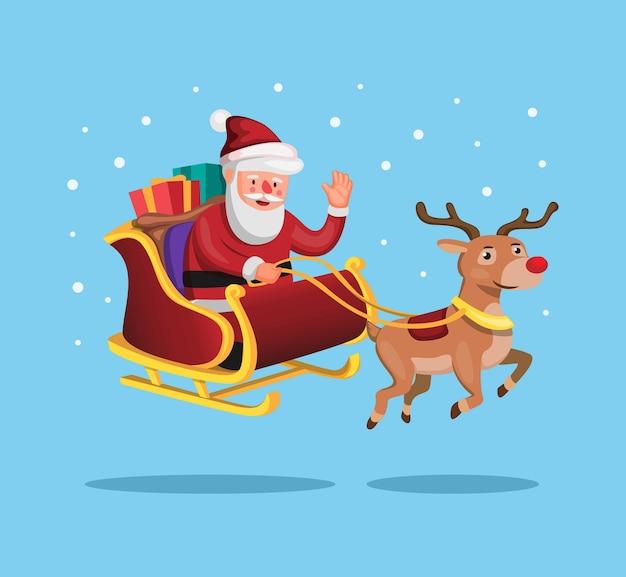 Weihnachtsmann und rentier mit weihnachtsschlitten, zum des geschenks im cartoon zu liefern Premium Vektoren