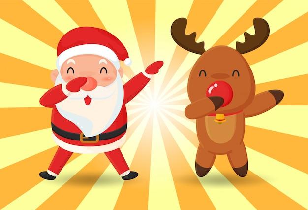 Weihnachtsmann und rentier Premium Vektoren