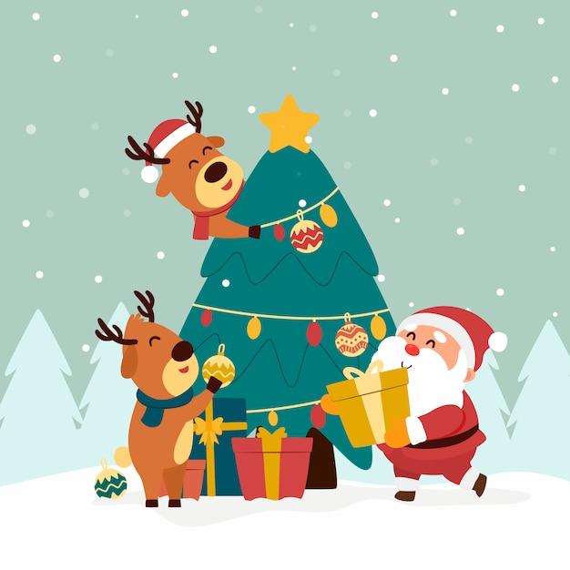 weihnachtsmann und rentiere mit weihnachtsbaum  premium