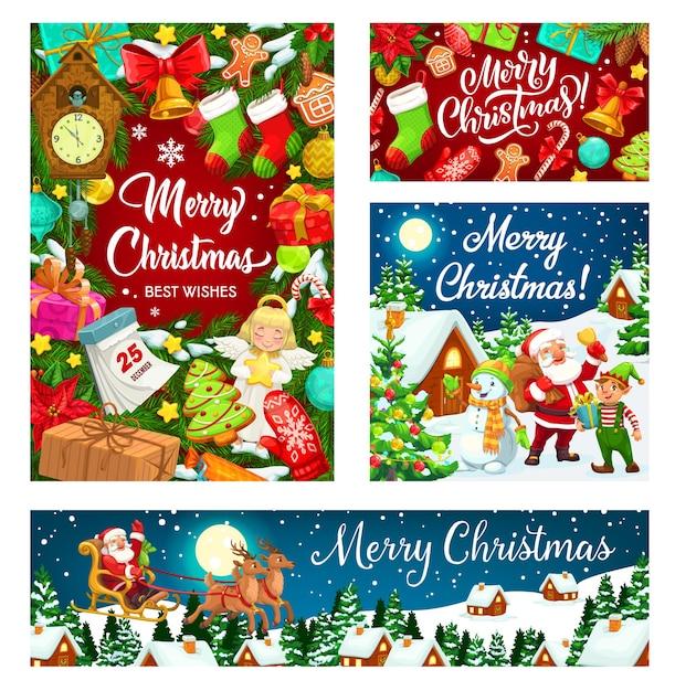 Weihnachtsmann und schneemann mit weihnachtsbaum- und geschenkdesign von weihnachten und neujahr. präsentieren sie schachteln, glocken und kalender, zuckerstangen, lebkuchen und schnee, sterne, bälle und rentierschlitten, elfen und socken Premium Vektoren