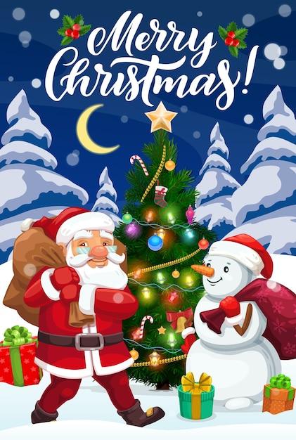 Weihnachtsmann und schneemann mit weihnachtsgeschenken und weihnachtsbaum, verziert mit stern, glocke und süßigkeiten, socke, bällen und lichtern, stechpalmenbeere, geschenken und schleifenentwurf. winterferien-grußkarte Premium Vektoren