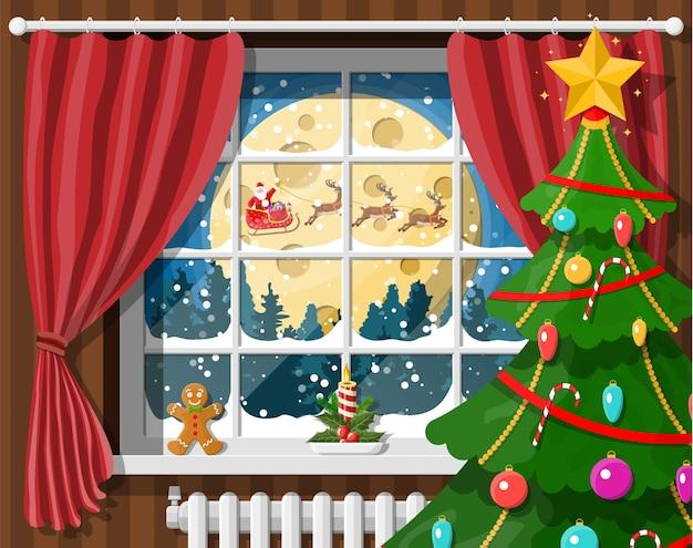 Weihnachtsmann und sein rentier im fenster. innenraum des raumes mit weihnachtsbaum. frohes neues jahr dekoration. frohe weihnachten. neujahrs- und weihnachtsfeier. Premium Vektoren