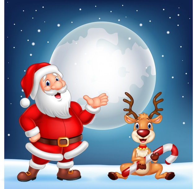 Weihnachtsmann und sein rentier rudolf Premium Vektoren