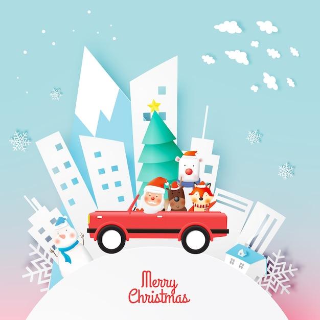 Weihnachtsmann und tierbande mit schönem hintergrund in der papierkunst Premium Vektoren