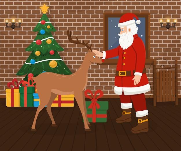 Weihnachtsmann und weihnachtshirsch, geschmückter weihnachtsbaum und geschenke. Premium Vektoren