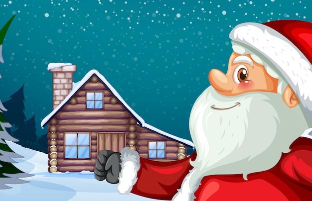 Weihnachtsmann und winterhütte hintergrund Kostenlosen Vektoren