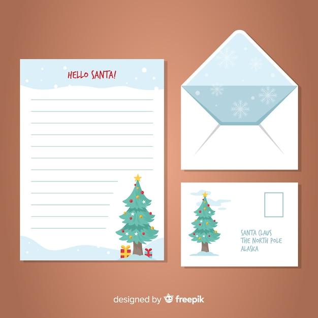 Weihnachtsmann Weihnachtsbaum Brief Vorlage Kostenlose Vektor