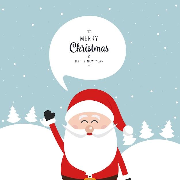 weihnachtsmann welle frohe weihnachten sprechblase schnee. Black Bedroom Furniture Sets. Home Design Ideas