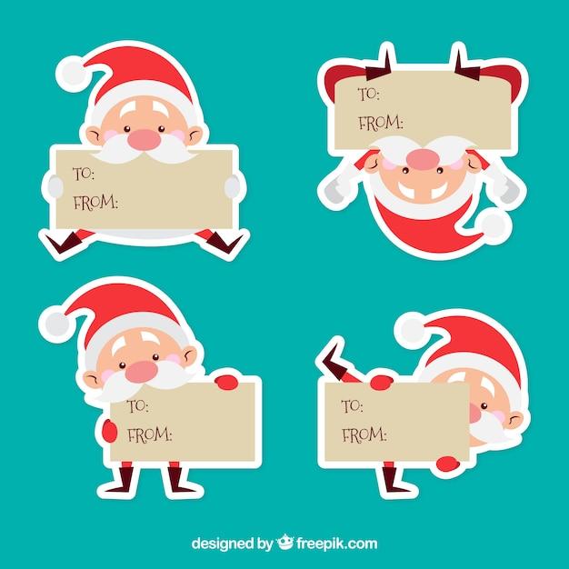 Weihnachtsmann-Zeichen-Etiketten Kostenlose Vektoren