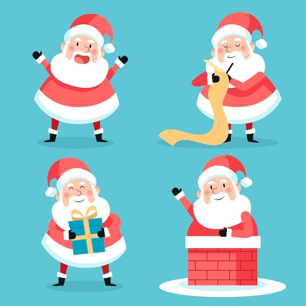 Weihnachtsmann-zeichensammlung im flachen design Kostenlosen Vektoren