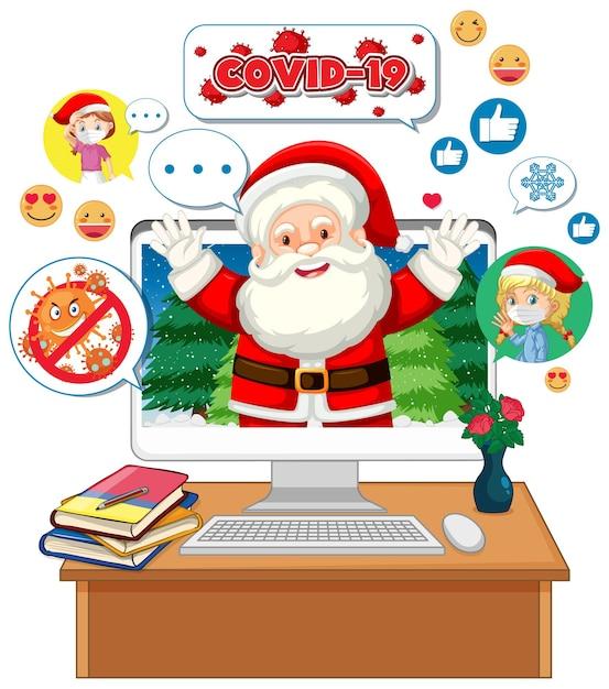 Weihnachtsmann-zeichentrickfigur auf computerbildschirm Kostenlosen Vektoren