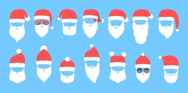 Weihnachtsmannmaske mit rotem hut und weißem bart gesetzt. sammlung von weihnachtspartymasken. element des weihnachtskostüms. flache vektorillustration Premium Vektoren
