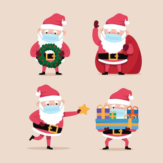 Weihnachtsmannsammlung, die gesichtsmaske trägt Kostenlosen Vektoren