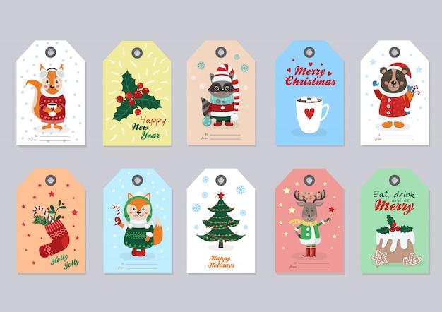 Weihnachtsmarken eingestellt mit waldtieren Premium Vektoren