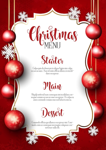 Weihnachtsmenü Design Hintergrund Kostenlose Vektoren