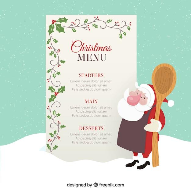 Weihnachtsmenü Vorlage mit Mistel Dekoration | Download der Premium ...