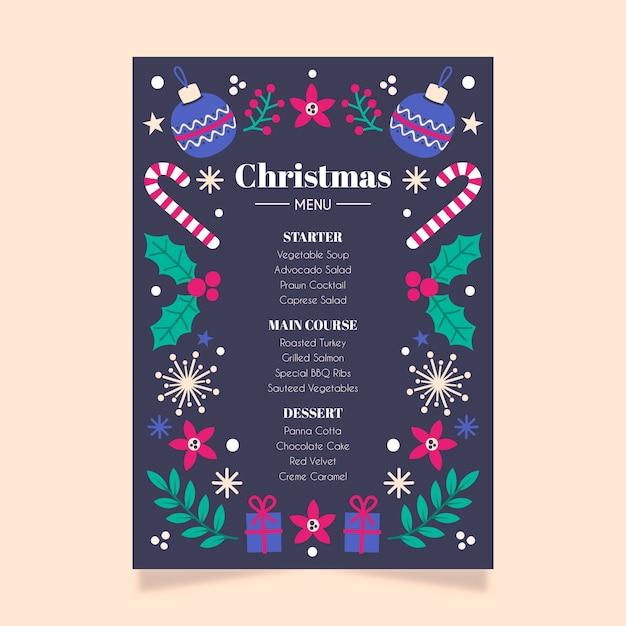 Weihnachtsmenü flache design-vorlage Kostenlosen Vektoren