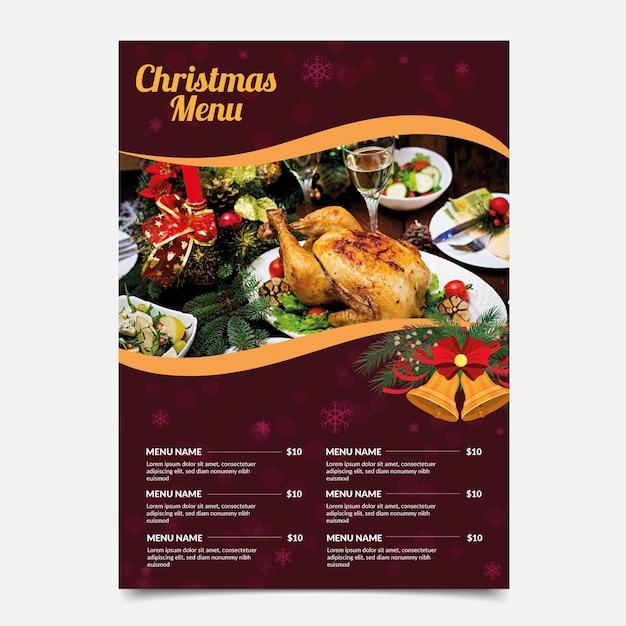 Weihnachtsmenü mit lebensmittelauswahlvorlage Kostenlosen Vektoren