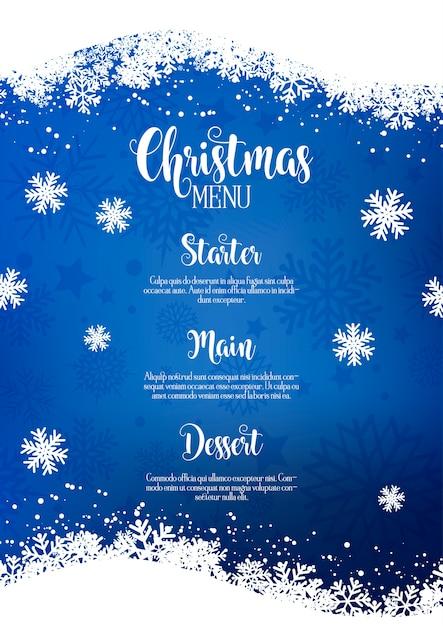 Weihnachtsmenü mit schneeflockendesign Kostenlosen Vektoren