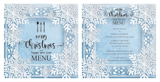 Weihnachtsmenüschablone mit schönem winterthema im papierschnittstil Premium Vektoren