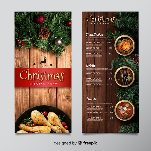 Weihnachtsmenüvorlage mit bild Kostenlosen Vektoren