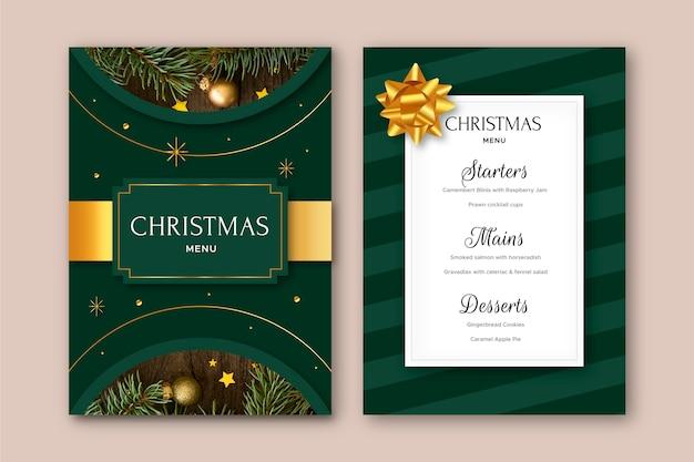 Weihnachtsmenüvorlage mit foto Kostenlosen Vektoren