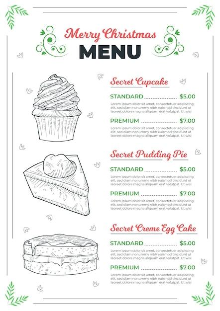 Weihnachtsmenüvorlage mit gezeichneten elementen Premium Vektoren