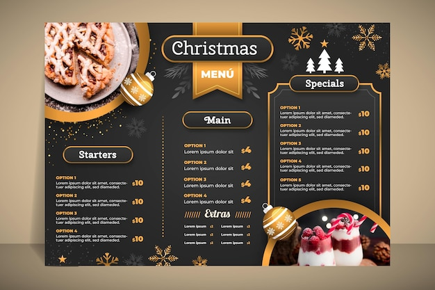 Weihnachtsmenüvorlage Kostenlosen Vektoren