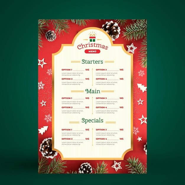 Weihnachtsmenüvorlage Premium Vektoren