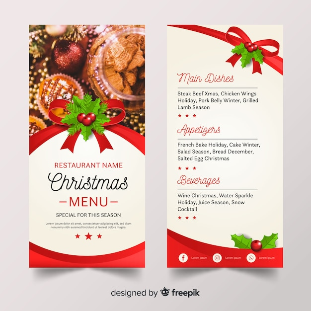 Weihnachtsmenüvorlage Kostenlose Vektoren