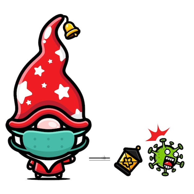 Weihnachtsmotiv chibi cartoon Premium Vektoren