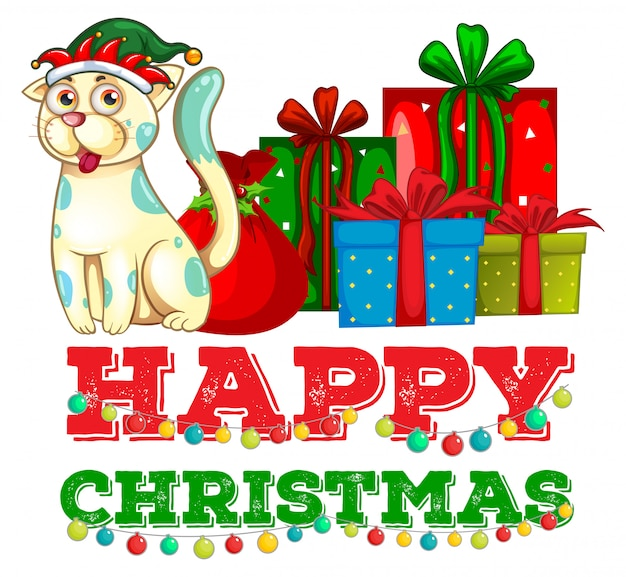 Weihnachtsmotiv mit katze und weihnachtsgeschenken Kostenlosen Vektoren