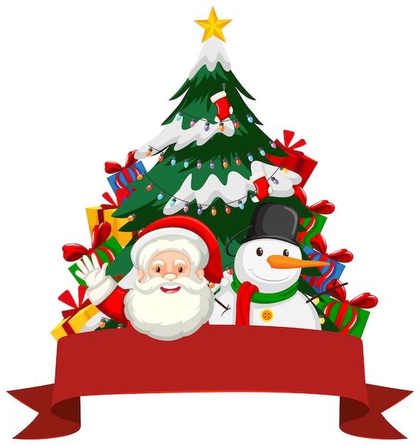 Weihnachtsmotiv mit weihnachtsmann und schneemann Kostenlosen Vektoren
