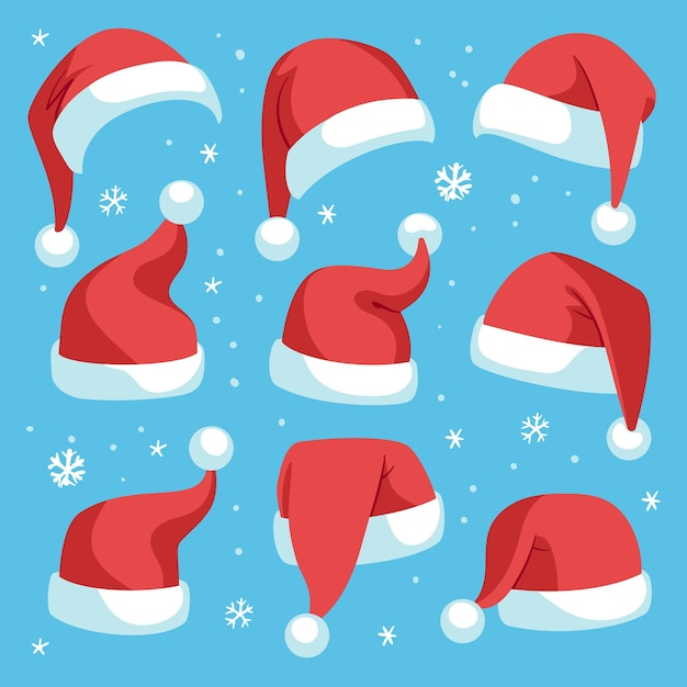 Weihnachtsmützen. rote weihnachtsmann-weihnachtsmütze gesetzt, feiertagsmaskeradekostümdekoration, lustige festliche kopfbedeckung der partei, niedliches isoliertes weihnachtsmützen-set der karikatur Premium Vektoren