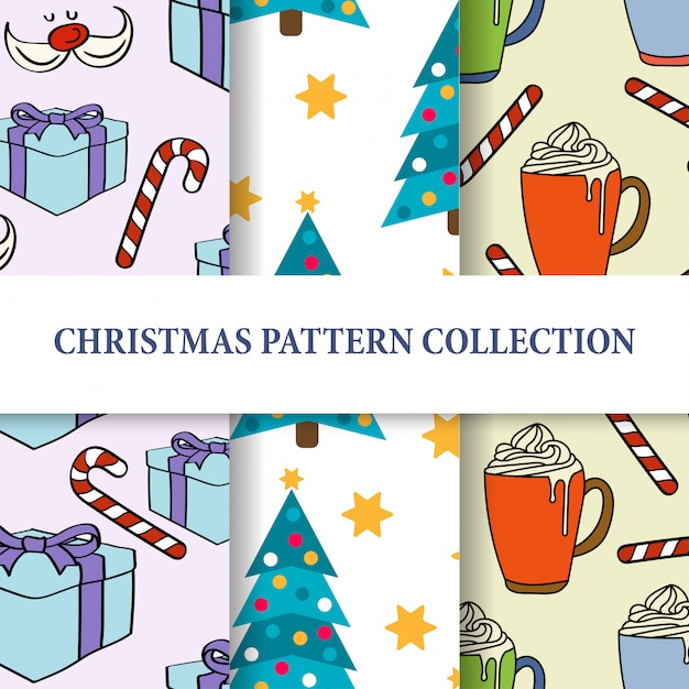 Weihnachtsmuster-kollektion Premium Vektoren