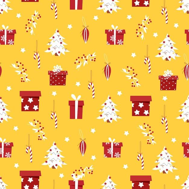 Weihnachtsmuster mit geschenken und einem weihnachtsbaum auf gelbem hintergrund. Premium Vektoren
